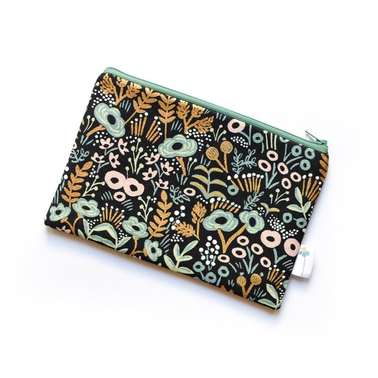 Black Tapestry Zipper Pouch