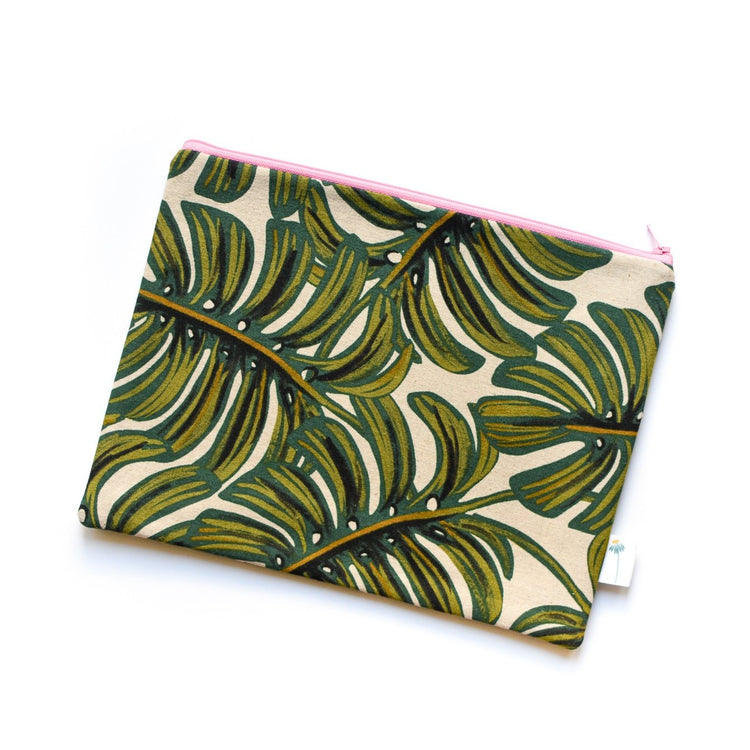 Extra Large Zipper Pouch in Monstera