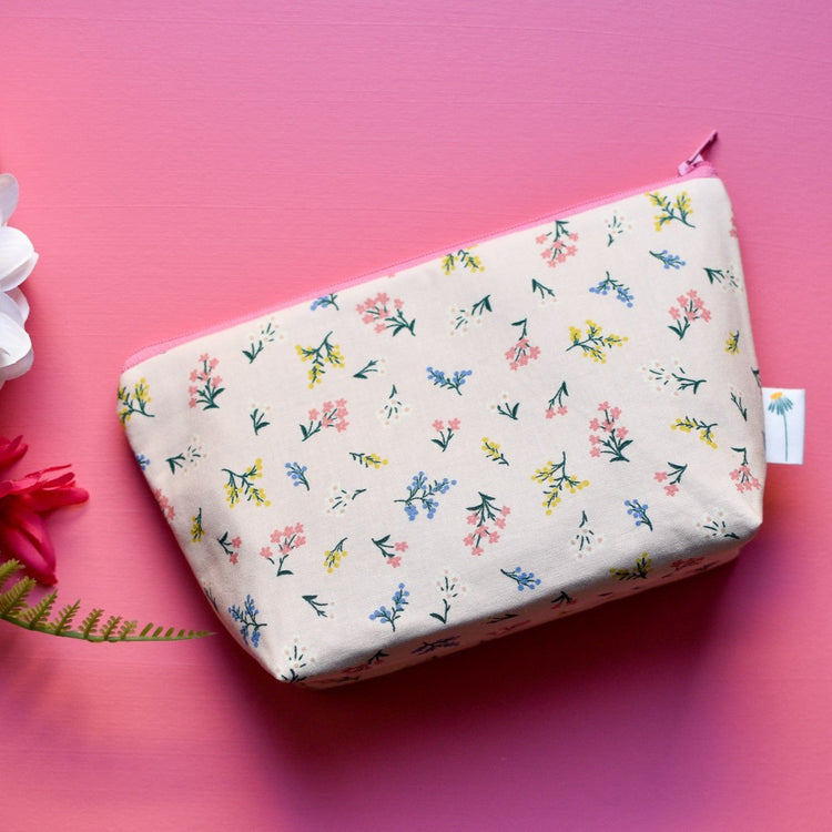 Large Zipper Pouch in Blush Petites Fleures