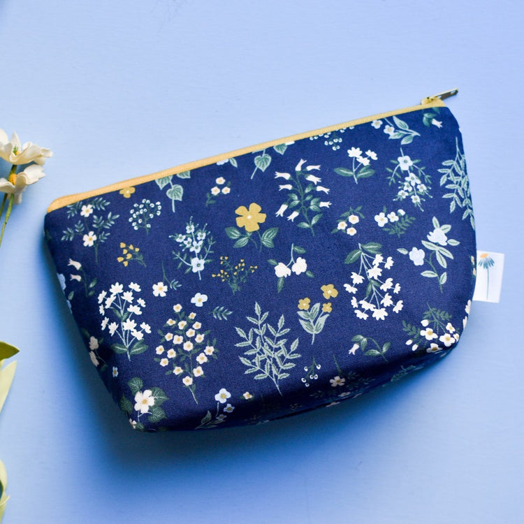 Large Zipper Pouch in Navy Hawthorne