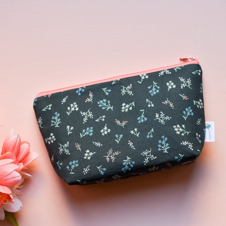 Large Zipper Pouch in Hunter Petites Fleures