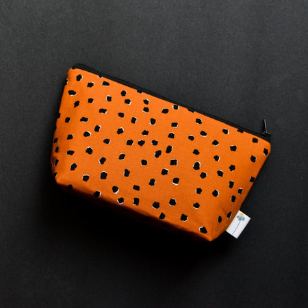 Large Zipper Pouch in Saddle Dotty Spot