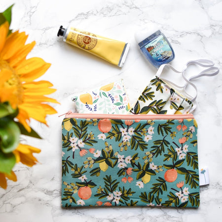Teal Citrus Zipper Pouch