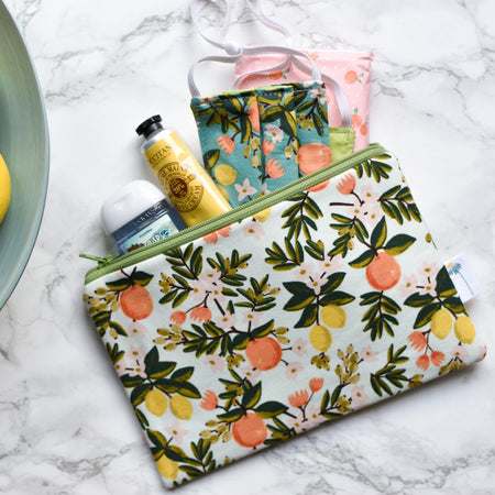 Mint Citrus Zipper Pouch