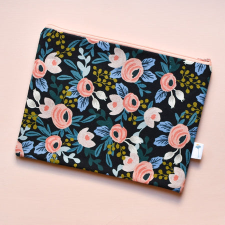 Extra Large Zipper Pouch in Black Rosa