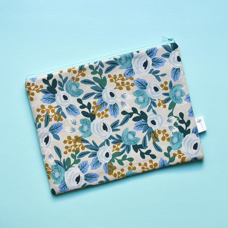 Extra Large Zipper Pouch in Blue Rosa