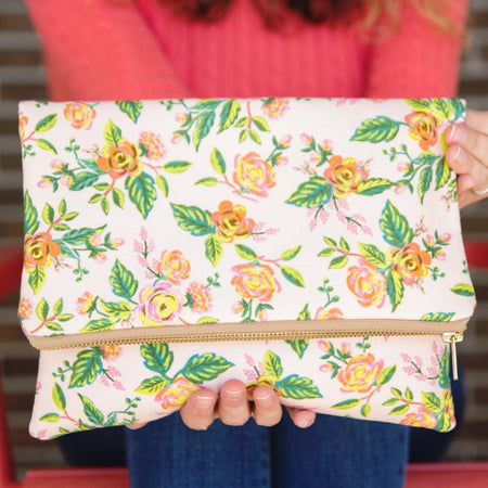 Oversized Foldover Clutch in Pink Paris Floral