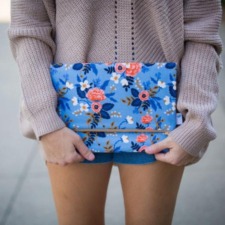 Oversized Foldover Clutch in Birch Floral