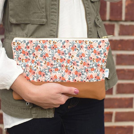 Signature Leather Clutch in Peach Rosa Floral