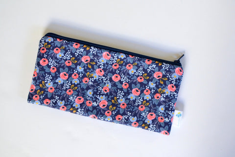 Navy Rosa Floral Pencil Pouch