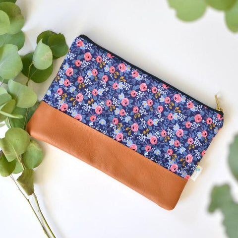 Signature Leather Clutch in Navy Mini Floral