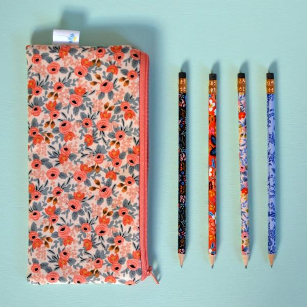 Peach Rosa Floral Pencil Pouch