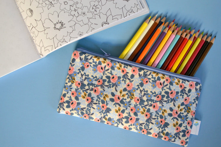 Periwinkle Rose Floral Pencil Pouch