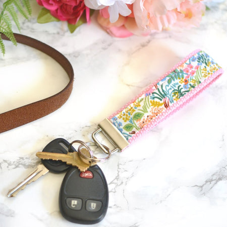 Tapestry Key Fob in Pink - silver