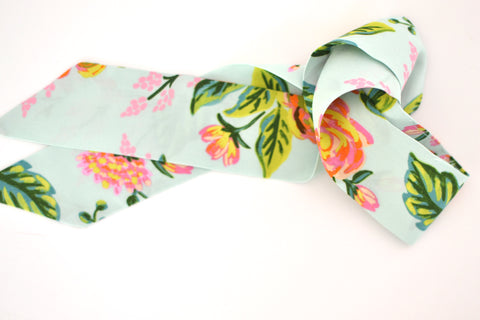 Mint Floral Skinny Scarf