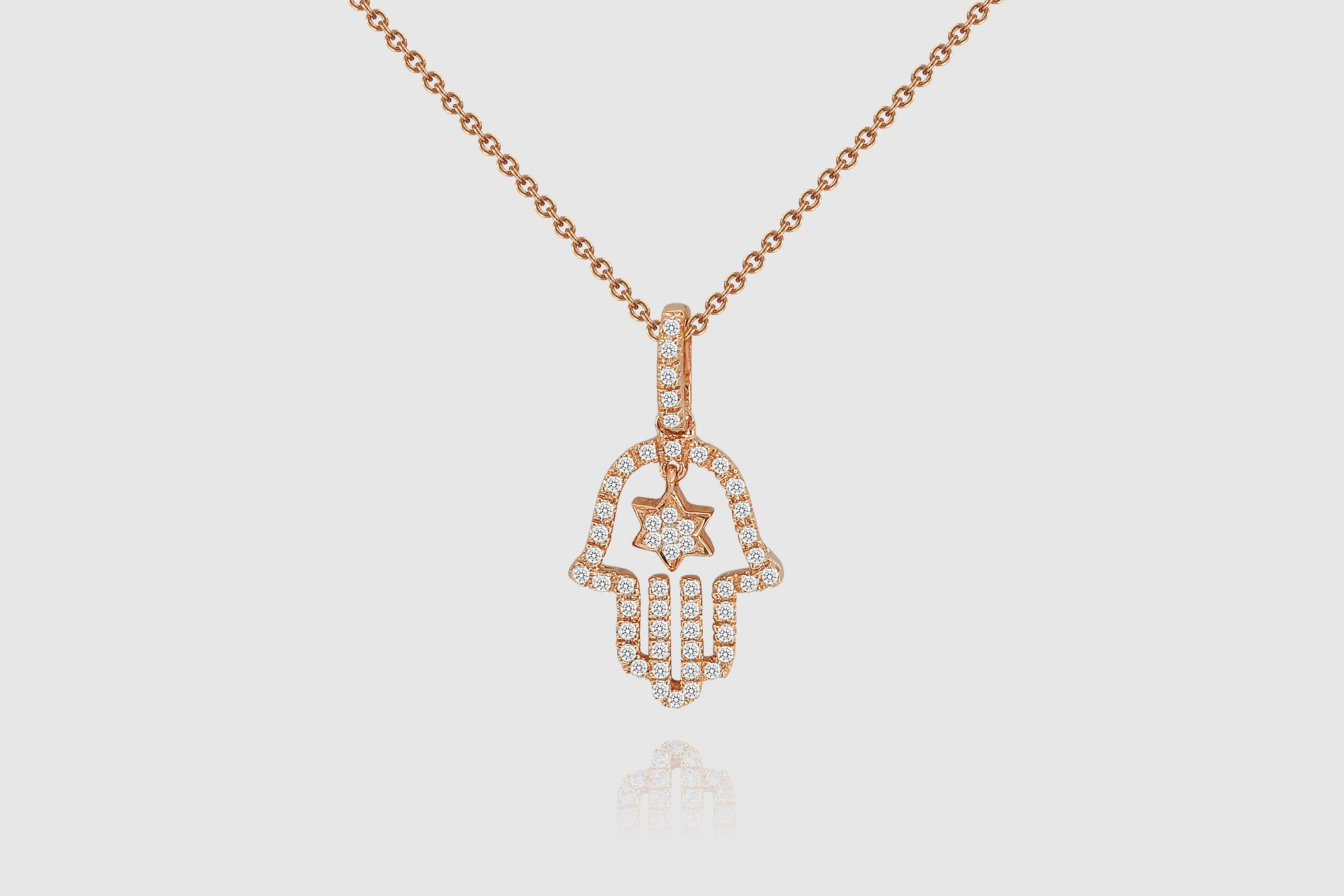 Gold hamsa diamond necklace elbeu 14k gold hamsa diamond necklace elbeu mozeypictures Images