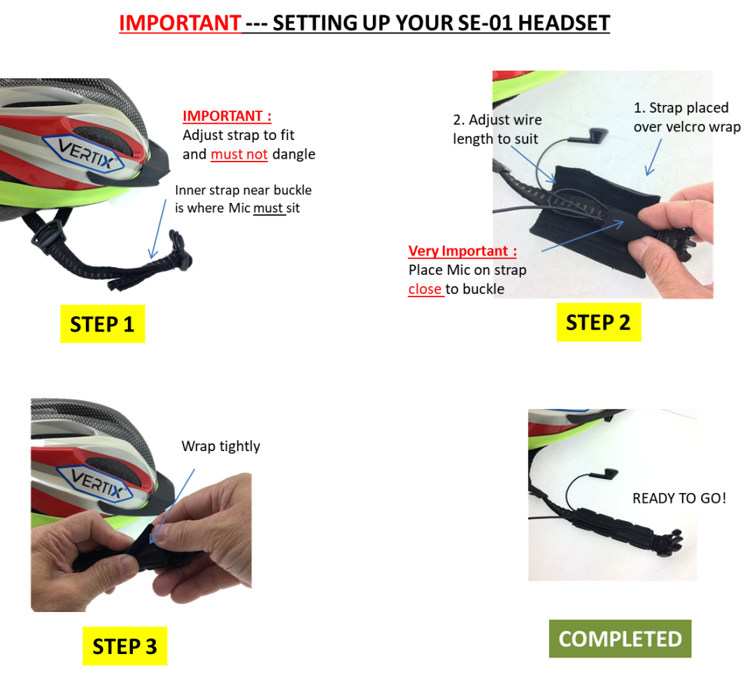 Installing SE-01 headset on Cycling Helmet