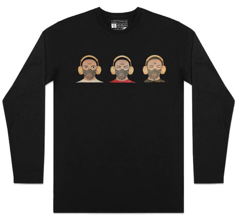Malique TKO - 3 Heads - Long Sleeve - Black (TS070)