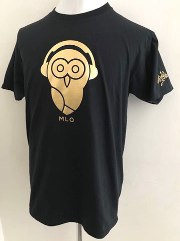 MLQ Owl T-Shirt - Gold Owl/Black Shirt (PRE-ORDER)