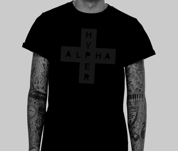 Men's Rolled Cuff Black-on-Black AlphaHyper T-Shirt