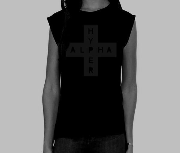 Women's Rolled Cuff Muscle Black-on-Black AlphaHyper T-Shirt