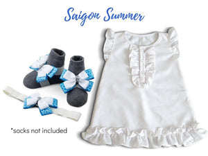 BABY GIRL DRESS SET: CREPE CHIFFON BABY GIRL DRESS WITH BAREFOOT SANDAL AND HEADBAND (3-18 MONTHS) - ZuriBabyCouture, baby fashion, baby shoes, infant fashion