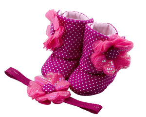 Fun with Fuchsia Baby Girl Booties and Headband Set - ZuriBabyCouture, baby fashion, baby shoes, infant fashion