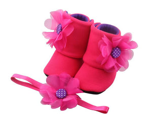 Hot Pink Merliah Baby Girl Booties and Headband Set - ZuriBabyCouture, baby fashion, baby shoes, infant fashion