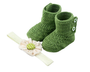 Baby Girl Booties Set: I pine for this deep evergreen. - ZuriBabyCouture, baby fashion, baby shoes, infant fashion