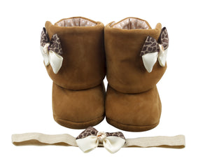 Sunkissed Brown Baby Girl Booties and Headband Set - ZuriBabyCouture, baby fashion, baby shoes, infant fashion