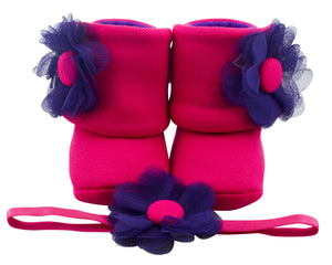 Fuchsia the Explorer Baby Girl Booties and Headband Set - ZuriBabyCouture, baby fashion, baby shoes, infant fashion