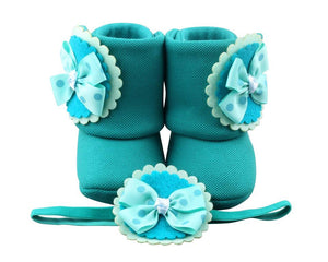 Trip to Tosca-Rica Baby Girl Booties and Headband Set - ZuriBabyCouture, baby fashion, baby shoes, infant fashion