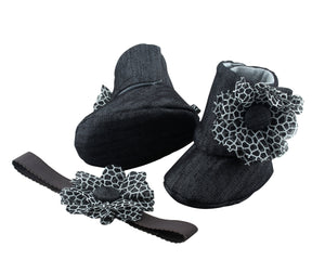 Denim black – and Basically Fabulous! Baby Girl Booties and Headband Set - ZuriBabyCouture, baby fashion, baby shoes, infant fashion