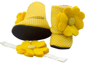 Walking On Sunshine Baby Girl Booties and Headband Set - ZuriBabyCouture, baby fashion, baby shoes, infant fashion