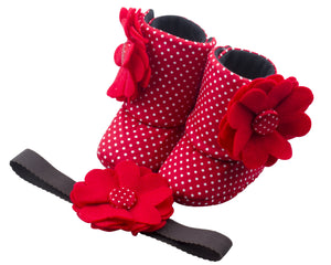 Patterned in Red Baby Girl Booties and Headband Set - ZuriBabyCouture, baby fashion, baby shoes, infant fashion