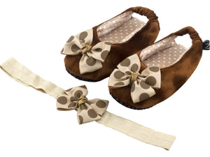 Espresso Delight Ballerina Shoes and Headband Set - ZuriBabyCouture, baby fashion, baby shoes, infant fashion