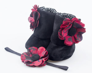 Black Forest Booties and Headband Set - ZuriBabyCouture, baby fashion, baby shoes, infant fashion