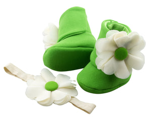 Zest for Life Baby Girl Booties and Headband Set - ZuriBabyCouture, baby fashion, baby shoes, infant fashion