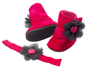 Rosie Baby Girl Booties and Headband Set - ZuriBabyCouture, baby fashion, baby shoes, infant fashion