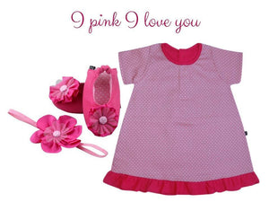 Japanese cotton shift dress with Ballerina shoes & headband for 3-9 months - ZuriBabyCouture, baby fashion, baby shoes, infant fashion