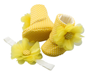 Pineapple Lily Baby Girl Booties and Headband Set - ZuriBabyCouture, baby fashion, baby shoes, infant fashion