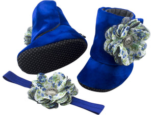 Royal Blue Belle Baby Girl Booties and Headband Set - ZuriBabyCouture, baby fashion, baby shoes, infant fashion