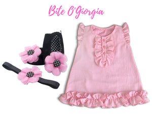 Crepe Chiffon Baby Dress with Ballerina Shoes & Headband (9-18 months) - ZuriBabyCouture, baby fashion, baby shoes, infant fashion