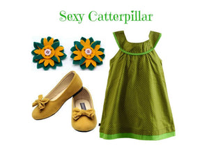 Dress Set: Sexy Catterpillar & a matching hair clip for 18months to 24months- ZuriBabyCouture, baby fashion, baby shoes, infant fashion