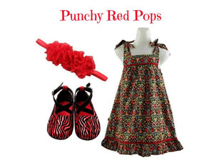 Kids Summer Dress Set for 2-3 yrs old: Punch Red Pops - ZuriBabyCouture, baby fashion, baby shoes, infant fashion