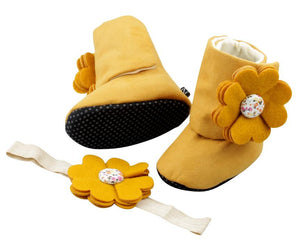 Mustard Delight Baby Girl Booties and Headband Set - ZuriBabyCouture, baby fashion, baby shoes, infant fashion
