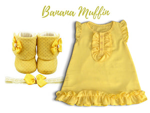 Crepe Chiffon Baby Girl Dress with Booties and headband (3-9 months) - ZuriBabyCouture, baby fashion, baby shoes, infant fashion