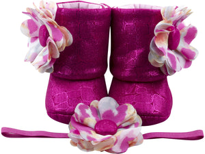 Pink Pirouette Baby Girl Booties and Headband Set - ZuriBabyCouture, baby fashion, baby shoes, infant fashion