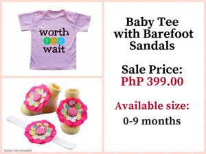 Baby Tee with Matching Barefoot sandals and Headband for 0-9 months - ZuriBabyCouture, baby fashion, baby shoes, infant fashion