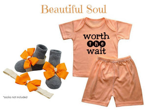 3-9 MONTHS BABY TEE W/ MATCHING SHORTS AND BAREFOOT SANDALS  & HEADBAND - ZuriBabyCouture, baby fashion, baby shoes, infant fashion